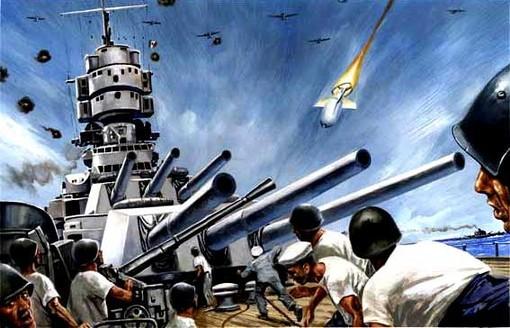 L´affondamento della corazzata Roma - Di A. Molino - Tempera su cartone da focus 2009