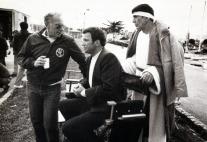 Bennett, Shatner y Nimoy en el set de Star Trek IV