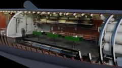 Zona media del cuarto de torpedos de proa