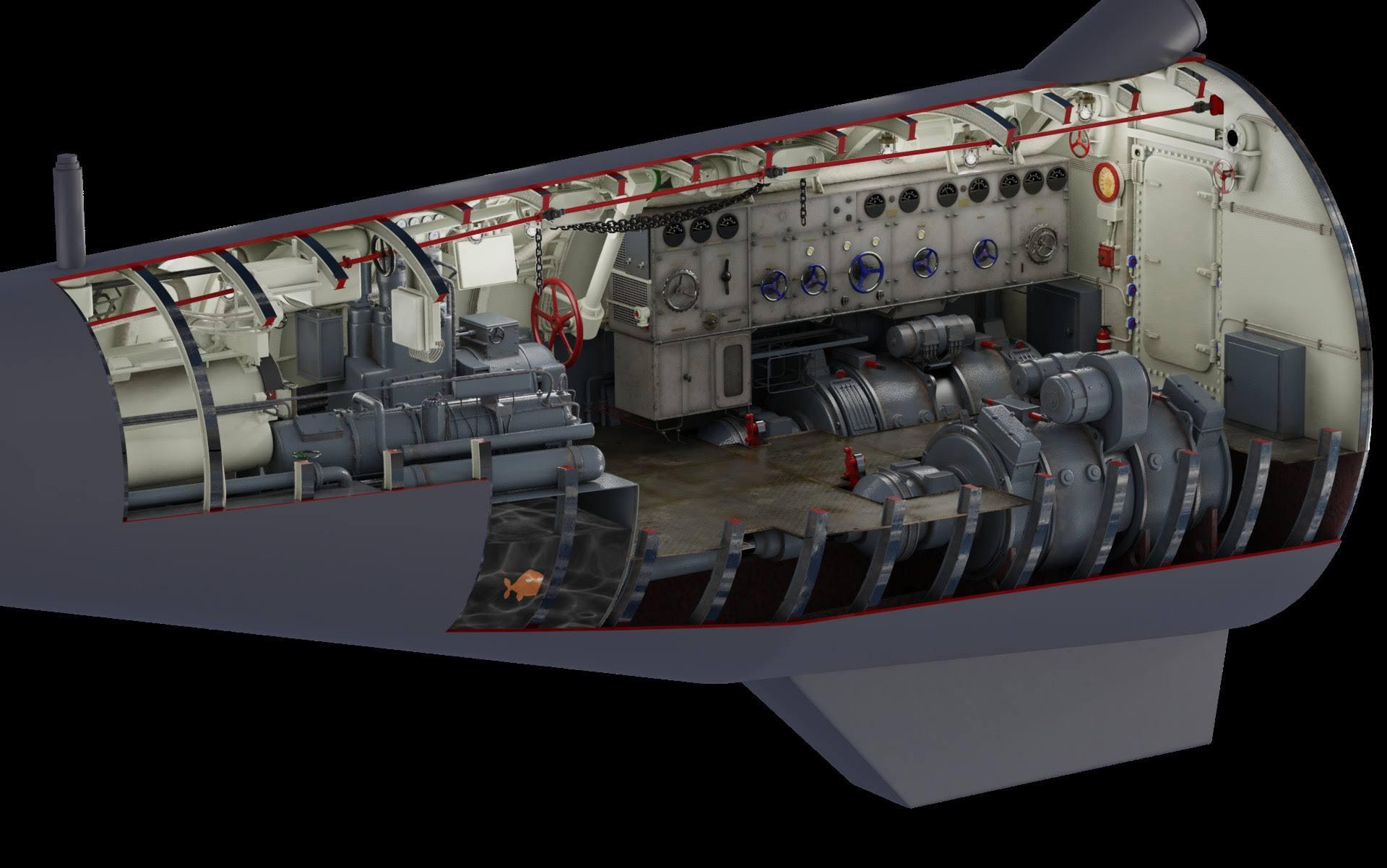 Cuarto de torpedos y motores de popa.