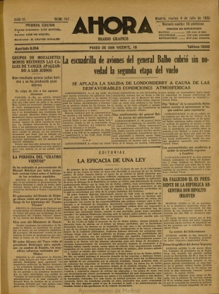 Primera página del Ahora del 4 de julio de 1933
