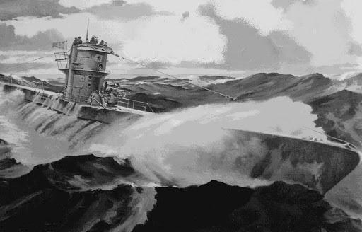 Uboot en mares tempestuosos