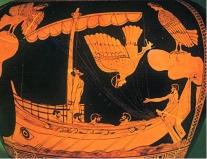 Vasija griega con Ulises y las sirenas
